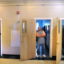 Inmates who were completing their sentences in the Maine Coast Regional Reentry Center in Belfast pose in 2011. The Waldo County Sheriff's Office received an award for the program for successfully lowering the recidivism rate among people who spent time there.