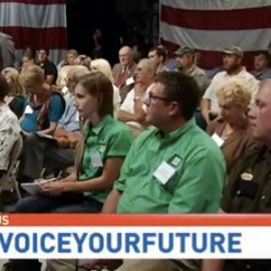 A screen shot of the live audience at the television town hall debate on the upcoming bear baiting referendum on Sept. 4, an event co-sponsored by the BDN and CBS13, WGME, in Portland.