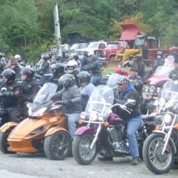 Motorcyclists line up to participate in the inaugural Mike and Heidi Memorial Ride and Walk on Saturday, Sept. 20, 2014, in Merrill and Oakfield.