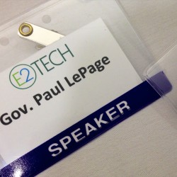 Maine Governor Paul LePage's name tag sits unused on a table at an Environmental and Energy Technology Council of Maine forum at Hannaford Hall in Portland on Friday morning.