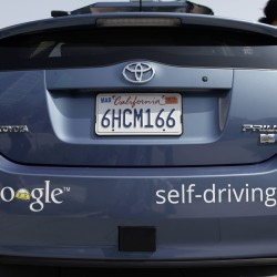 A driverless car is on display at Google Headquarters in Mountain View, California on Tuesday, September 25, 2012.