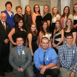 "The 2014 Gauvin Scholars were honored Saturday at a ""Night with the Stars"" gala at the University of Maine at Presque Isle. Pictured are: (from left, front row) Andrew White, Washburn District High School; Nicholas Belanger, Ashland High School; and Patrick Belanger, Fort Kent Community High School; (from left, middle row) Ray Gauvin, co-founder of Aroostook Aspirations Initiative; Meghan Hebert, Hodgdon High School; Teya Lizotte, Van Buren High School; Mariah Hebert, Madawaska High School; Brittany Drost, Central Aroostook High School; and Katelynn Perkins, Presque Isle High School; (back row) U.S. Sen. Susan Collins; Sandy Gauvin, Aroostook Aspirations Initiative co-founder; Elizabeth Guimond, Wisdom High School; Kaylin Blood, Limestone Community School), Krista Beaupre (Caribou High School), Stephanie Hammond (Easton High School; Shyanna Smith, Fort Fairfield High School; and Jessica Tucker, Southern Aroostook Community High School. Absent when the photo was taken was Elizabeth Knowles of Katahdin High School."