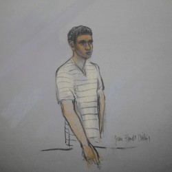 Defendant Robel Phillipos is pictured in a courtroom sketch