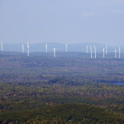 The wind turbines erected by First Wind in Township 16 are visible from the Schoodic Mountain summit in eastern Hancock County in this picture taken in 2013.