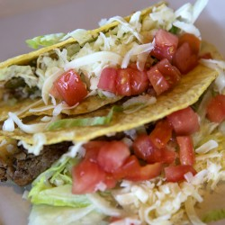 Beef and chicken tacos from Las Palapas are seen Friday.
