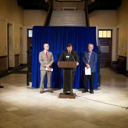 Democrats Ben Grant (left), Troy Jackson (center) and Richard Farnsworth criticize the LePage administration's handling of several key scandals in the Department of Health and Human Services at a press conference on Thursday, Sept. 25, in Augusta.