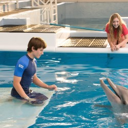 "Nathan Gamble (left) as Sawyer Nelson and Cozi Zuehlsdorff as Hazel Haskett with Winter as herself in Alcon Entertainment's family adventure ""DOLPHIN TALE 2"""