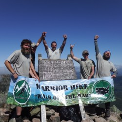 "U.S. combat veterans Todd Rogers of New York (from left), Cecil Thayer of Ohio, Sean Gobin of Virginia, Matthew Donnelly of Pennsylvania and Jesse Swensgard of Ohio stand on Baxter Peak on Mount Katahdin on Sept. 12, 2014, after completing the 2,185-mile Appalachian Trail through the Warrior Hike ""Walk off the War"" program. Gobin, founder of the program, supported the team during their long trek from Georgia to Maine."