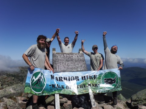 U.S. combat veterans Todd Rogers of New York (from left), Cecil Thayer of Ohio, Sean Gobin of Virginia, Matthew Donnelly of Pennsylvania and Jesse Swensgard of Ohio stand on Baxter Peak on Mount Katahdin on Sept. 12, 2014, after completing the 2,185-mile Appalachian Trail through the Warrior Hike &quotWalk off the War&quot program. Gobin, founder of the program, supported the team during their long trek from Georgia to Maine.