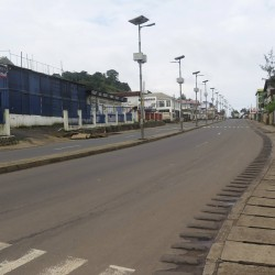 An empty street is seen at the start of a three-day national lockdown in Freetown, Sierra Leone, on Friday. Sierra Leone began a three-day lockdown on Friday in an effort to halt the spread of the Ebola virus, as President Ernest Bai Koroma urged residents to comply with the emergency measures.