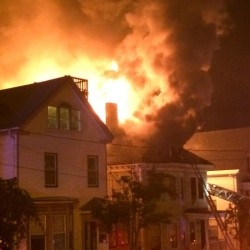 A fire rages on Tuesday in Portland.