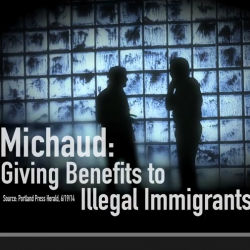 A screenshot of a television ad shows the Republican Governors Association attacking Democratic U.S. Rep. Mike Michaud, accusing him of favoring state support for undocumented immigrants.