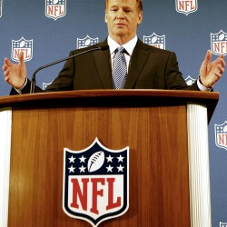 NFL commissioner Roger Goodell addresses the media at a press conference at the New York Hilton on Friday.