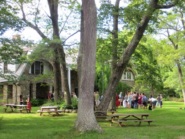 Students gather outside the Stone House in Freeport in this July 2013 file photo.