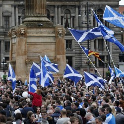 Yes supporters congregate in George Square in Glasgow, Scotland, Sept. 16, 2014. The referendum on Scottish independence will take place on Sept. 18, when Scotland will vote whether or not to end the 307-year-old union with the rest of the United Kingdom.