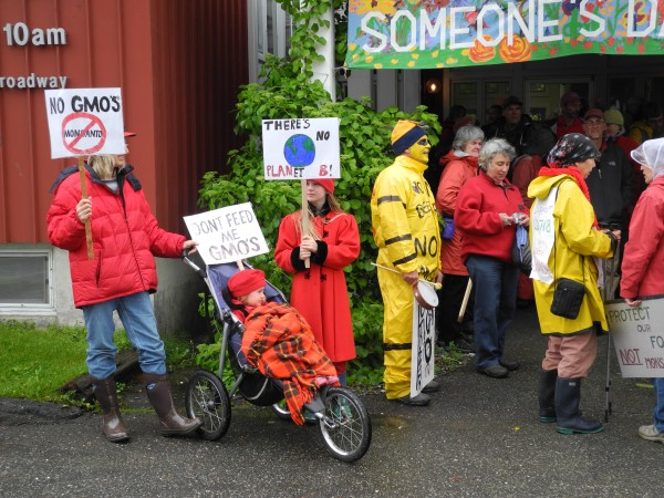 Anti-Monsanto activists gather at the First Universalist Church in Rockland before taking to the streets in a march against the agri-business company and genetically modified food in this 2013 file photo.