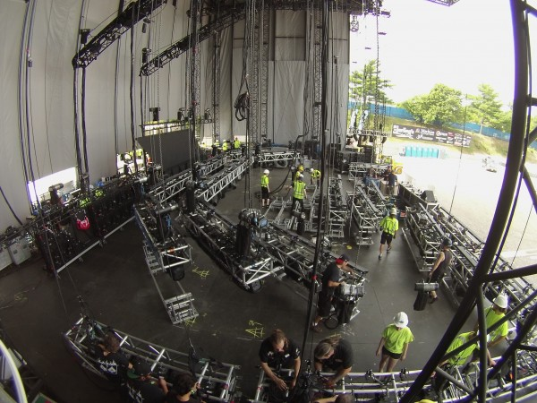 Crews construct the stage for the Jason Aldean Concert on Sunday at the Darling's Waterfront Pavilion in Bangor.