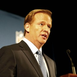 NFL commissioner Roger Goodell addresses the media at a press conference at the New York Hilton.