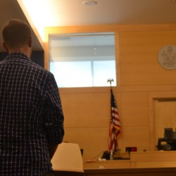 Steven Bell appears before Judge Gregory Campbell on Aug. 20, 2014 in Bangor District Court for a hearing on his restitution order.