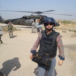 Iraqi journalist Ali Al Mshakheel, who immigrated to Portland, Maine this year with his family, was embedded with American troops in the Hussainiyah area of northern Baghdad in 2010.