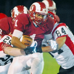 Running back Dane Johnson (middle), pictured during a Sept. 12 game against Scarborough, will be among the key players for Bangor High School when it takes on Windham in a battle of unbeaten teams on Friday night.