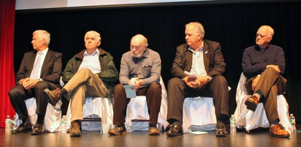 Four candidates for public office and a representative for gubernatorial candidate Eliot Cutler attended a forum on the east-west corridor Oct. 23 at the Center Theatre in Dover-Foxcroft. Pictured, from left, are Democratic gubernatorial candi