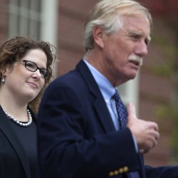 Sen. Emily Cain (left) listens as U.S. Sen. Angus King endorses her during a Wednesday press conference on the front steps of Fogler Library at the University of Maine in Orono.