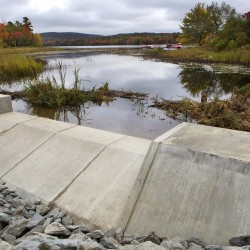The new dam is seen at Swetts Pond in Orrington on Tuesday.
