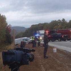 Police and rescue officials are responding to an accident on Route 1A near the Lucerne Inn.