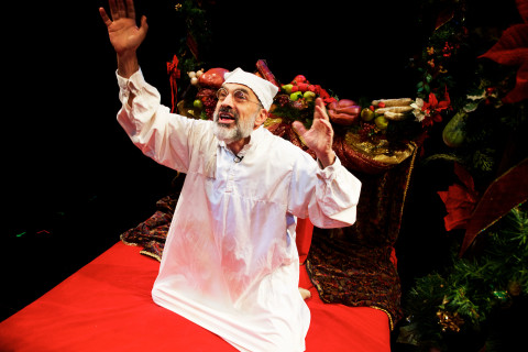 Ron Botting performs a scene as Ebenezer Scrooge at Portland Stage on Monday. Botting will take up