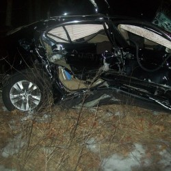 This is what remains of Helen Dobosz's 2009 Honda Accord after it was hit broadside by a fully loaded logging truck Friday afternoon. Dobosz, 72, is from Seekonk, Massachusetts, and was listed in serious condition at Maine Medical Center on Saturday, Jan. 24, 2014.