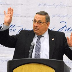 Gov. Paul LePage speaks at the Maine Heritage Policy Center luncheon at the Cross Insurance Center in Bangor in this March 4, 2015, file photo.