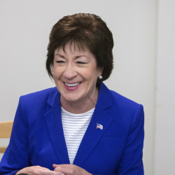 Sen. Susan Collins speaks on March 31 at the University of Maine in Orono.