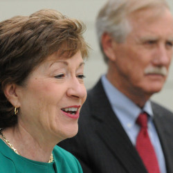 Sen. Angus King is shown with Sen. Susan Collins last year.