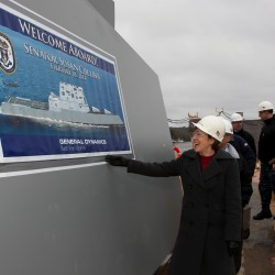 U.S. Sen. Susan Collins toured the future USS Zumwalt, the first of three DDG 1000 stealth destroyers to be built at Bath Iron Works, in Bath in this February 2014 file photo.