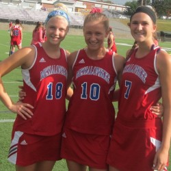 Nathalie St. Pierre (from left), Riley Field and Emily Hogan have helped lead the Messalonskee field hockey team to a 12-0 record and No. 1 spot in Class A North.