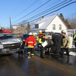 Members of the Rockland Fire Department, Rockland Emergency Medical Services and Owls Head Fire Department responded Sunday morning to a two vehicle crash on Route 73 in Owls Head near the town line.