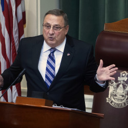 Caption Gov. Paul LePage addresses the Legislature during the 2015 State of the State address.