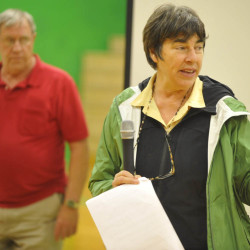 Roxanne Quimby answers questions during a National Park feasibility study meeting at Schenck High School in East Millinocket in 2011.