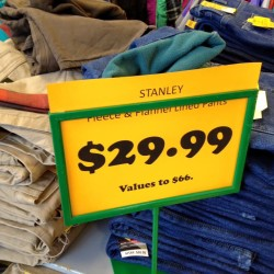 Fleece-lined pants and jeans are marked down at Sleepers in Caribou. Business owners in Aroostook County and other parts of the state said this week that the warmer weather and lack of snow this season has affected the sales of winter clothing and equipment.
