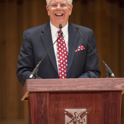 University of Maine President Paul Ferguson speaks at Ball State University on May, 22, 2014, when he was named the school's new president.