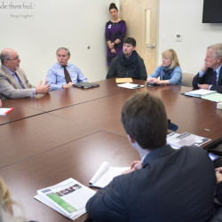 U.S. Sen. Angus King participated in a roundtable discussion on opiate addiction with local recovery, treatment and health care professionals at the Hope House in Bangor.