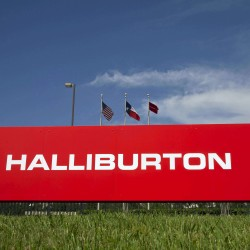 The company logo of Halliburton oilfield services corporate offices is seen in Houston, Texas, April 6, 2012.