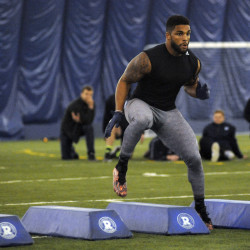 "Trevor Bates of Westbrook, pictured during the University of Maine's ""Pro Day"" in Orono on March 21, has been drafted in the seventh round by the NFL's Indianapolis Colts."