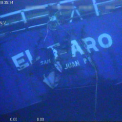 The stern of the sunken cargo ship El Faro is seen.