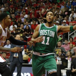 Boston Celtics guard Evan Turner (11) shoots the ball against the Atlanta Hawks in the second quarter in game five of the first round of the NBA Playoffs at Philips Arena.