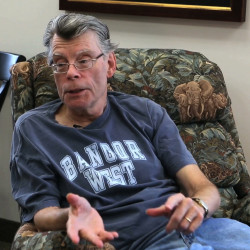 Stephen King talks with BDN's John Holyoke Thursday, Oct. 2, 2014 at his office in Bangor.