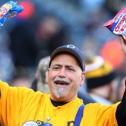 Ballpark vendor Chico Sakulsky sells peanuts and Cracker Jack before the Pittsburgh Pirates play the St. Louis Cardinals at PNC Park on April 5.
