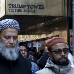 Muslims pray as they take part in a protest against presidential candidate Donald Trump outside of his office in Manhattan, New York, Dec. 20, 2015.