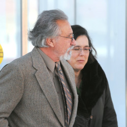 Jay Gus Conrad, 67, of Lakeland, Tennessee, (left) leaves the Federal Building with his attorney Federal Public Defender Virginia Villa in Bangor Jan. 7, 2014.